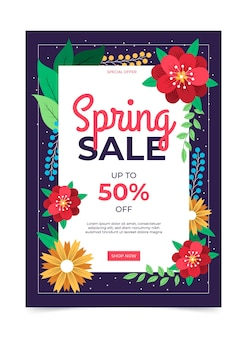 Lovely spring sale flyer template