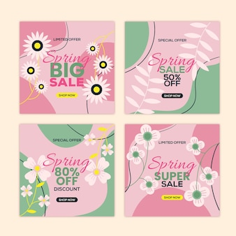 사랑스러운 봄 세일 인스 타 그램 게시물 팩
