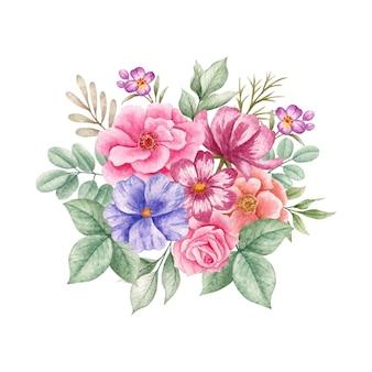 아름다운 봄 수채화 꽃 꽃다발