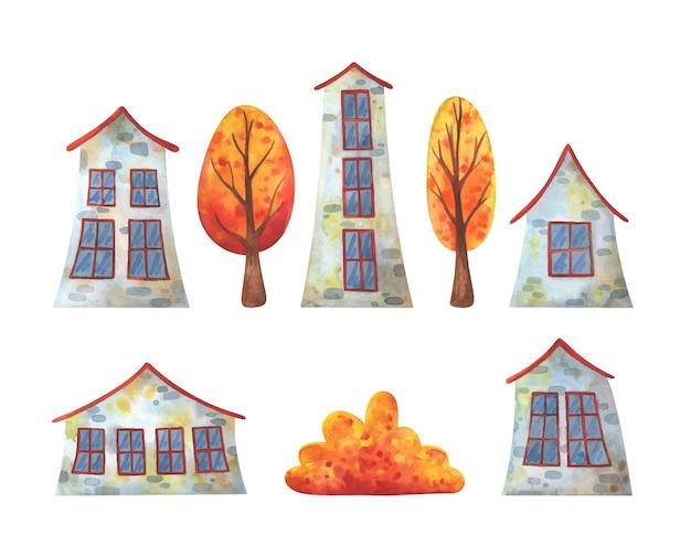 Прекрасные каменные дома и осенние деревья. набор иллюстраций