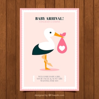 Bella cicogna doccia carta di bambino