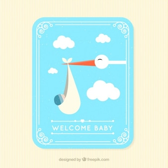 Lovely stork flying with a baby card in flat design