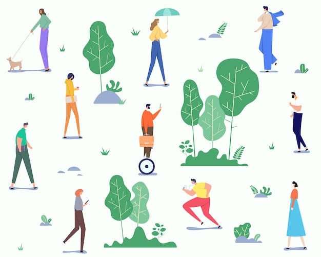 Lovely summer landscape pattern with group of people spending free time outdoors in park, enjoying nature, jogging and more.