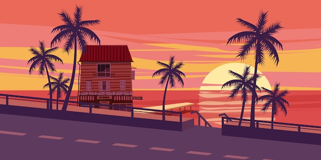 Lovely sunset, sea, road, trees, house with mooring, cartoon style, vector illustration