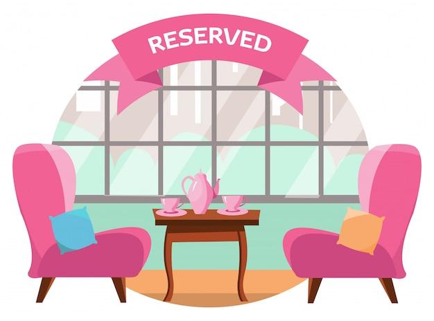 도시가 내려다 보이는 탁 트인 창 근처에 두 사람이 카페에서 사랑스러운 테이블. 테이블에는 두 개의 분홍색 컵과 냄비가 있습니다. 테이블이 예약되어 있습니다. 플랫 만화 벡터 일러스트 레이션