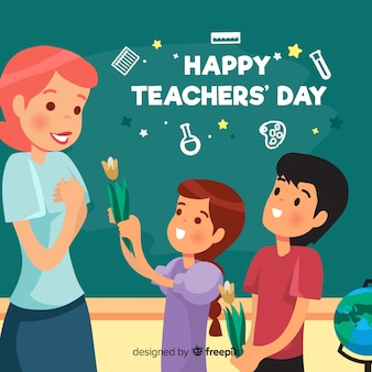 Lovely teachers' day composition with flat design
