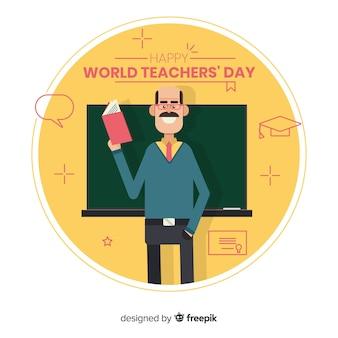 Прекрасная дневная композиция учителя с плоским дизайном