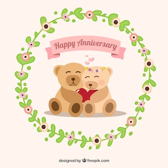 Lovely teddy with floral wreath for anniversary