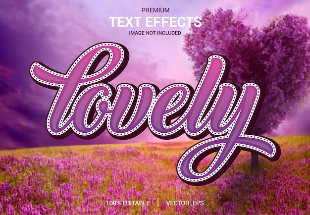 Lovely text effect vectors, set elegant pink purple abstract valentine text effect