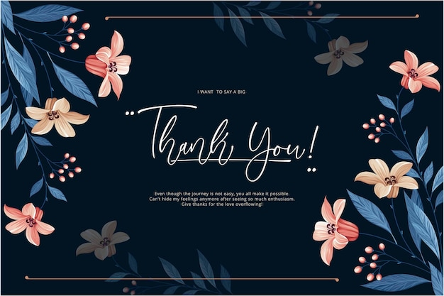 Lovely thank you card gift template floral background