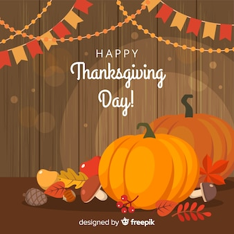 Lovely thanksgiving background with flat design