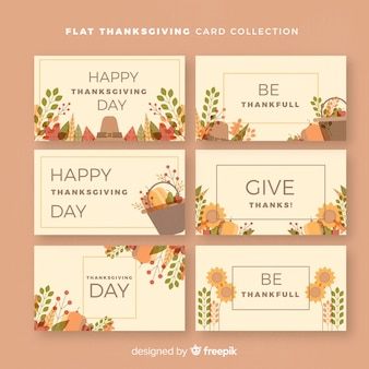 Lovely thanksgiving card collection with flat design
