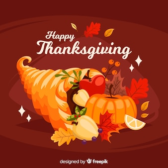 Lovely thanksgiving day background with flat design
