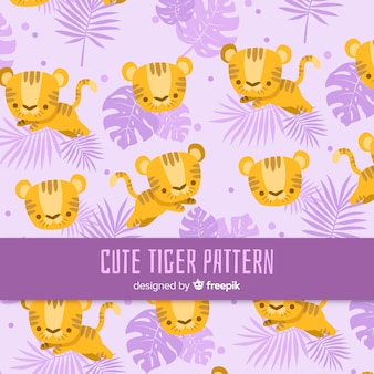 Lovely tiger pattern with flat design
