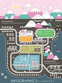 평면 디자인 스타일의 아름다운 마을 풍경 인포 그래픽 템플릿