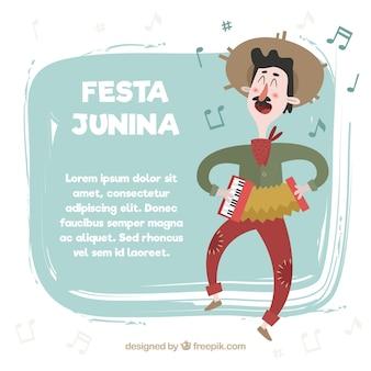 축제 junina 배경의 사랑스러운 전통적인 남자