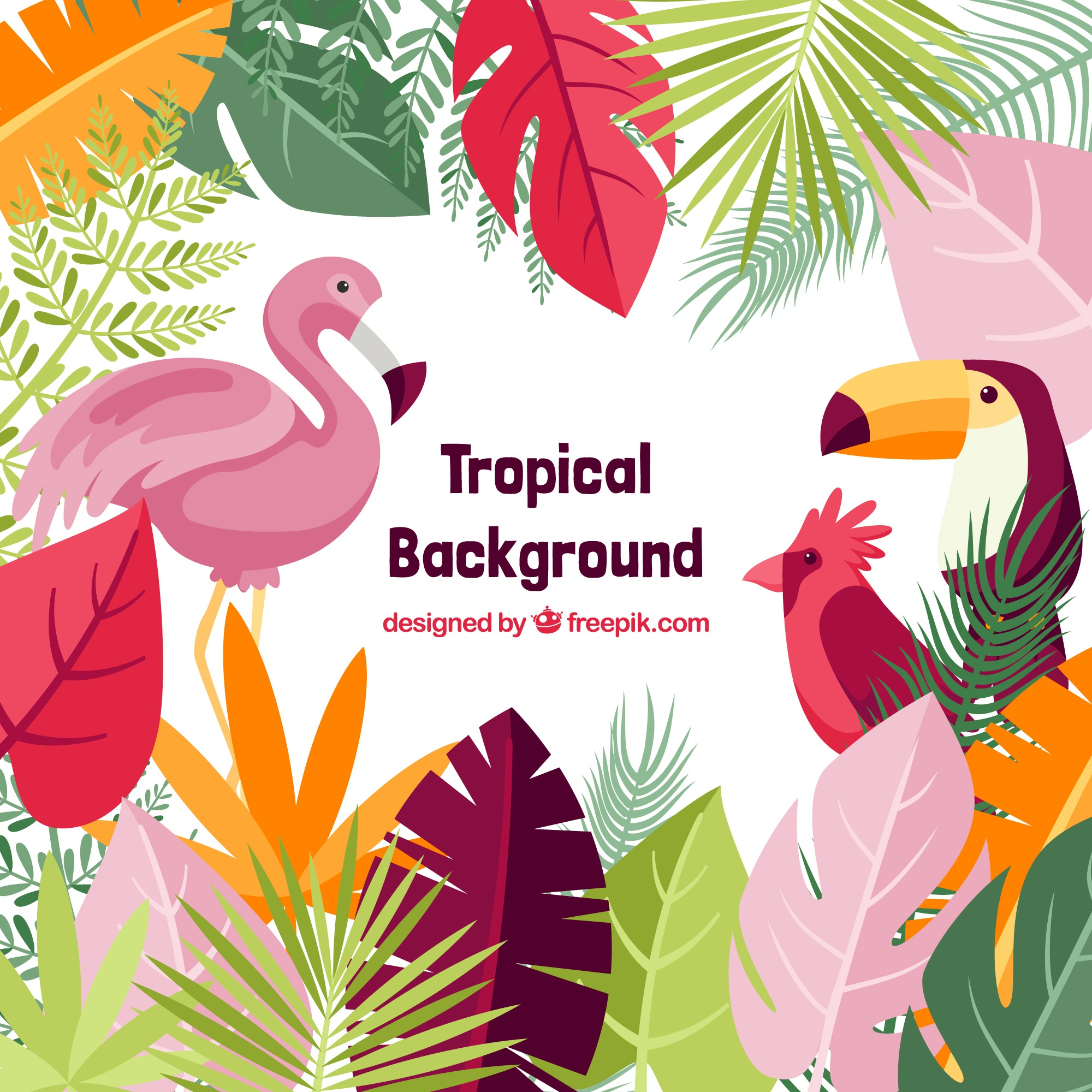Lovely tropical background with flat design