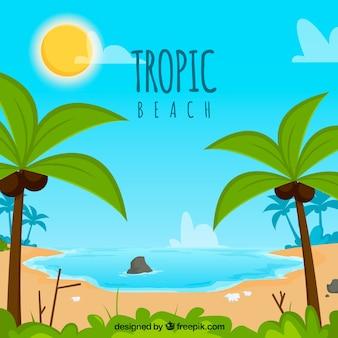 Прекрасный тропический пляж с плоским дизайном