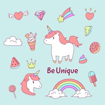 Lovely unicorn graphic element set