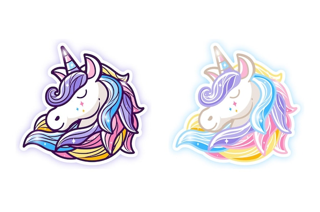 Lovely unicorn illustration with colourful hair