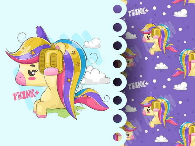 Lovely unicorn listening music with pattern