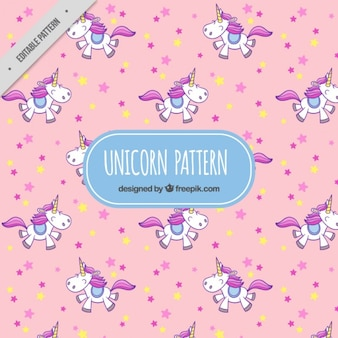 Lovely unicorn pink pattern with stars