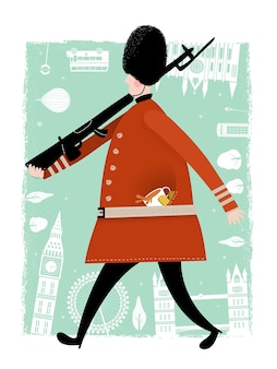 Прекрасная иллюстрация охранника соединенного королевства с фоном достопримечательностей
