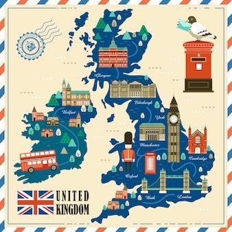 Прекрасная карта путешествия соединенного королевства с достопримечательностями