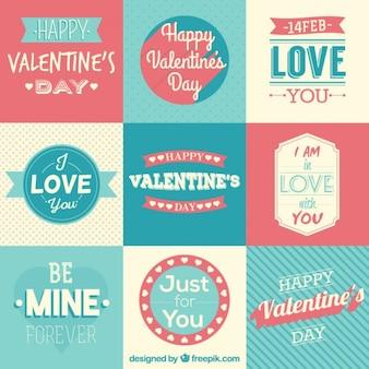 복고 스타일의 사랑스러운 발렌타인 데이 배지와 문구