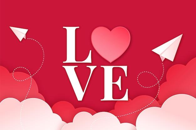 종이 스타일의 사랑스러운 발렌타인 배경