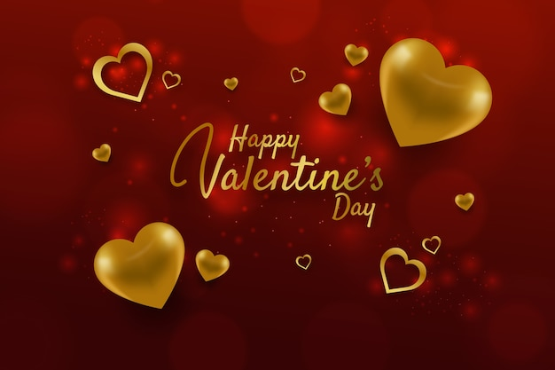 Lovely valentine's day background with golden elements