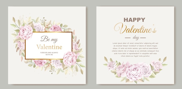 Lovely valentine's day card template with wreath floral