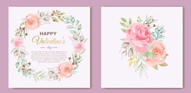 花輪の花の素敵なバレンタインデーカードテンプレート