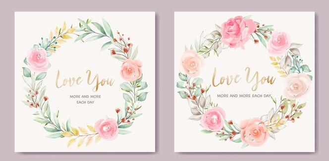 화 환 꽃과 사랑스러운 발렌타인 카드 서식 파일