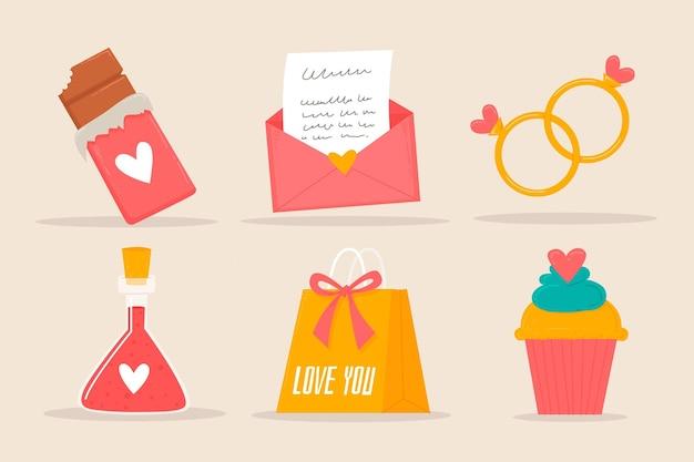 Set di elementi di san valentino incantevole