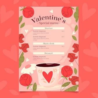 Lovely valentine's day menu template