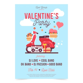 Lovely valentine's day party poster template