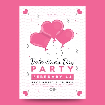 Lovely valentine's day party poster with heart balloons