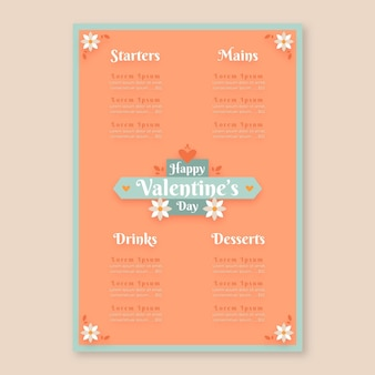 Lovely valentine's day restaurant menu template