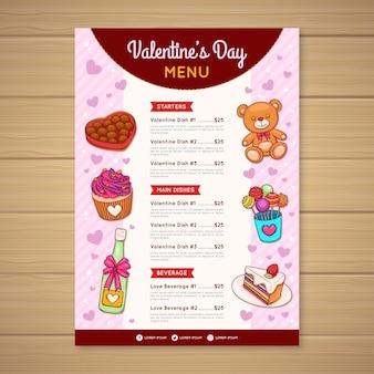 Прекрасное меню ресторана на день святого валентина