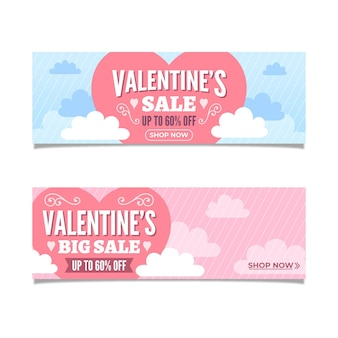 Lovely valentine's day sale banners collection