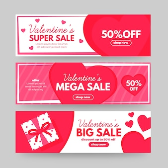 Lovely valentine's day sale banners set