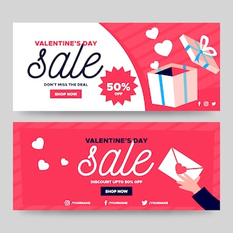 Lovely valentine's day sale banners