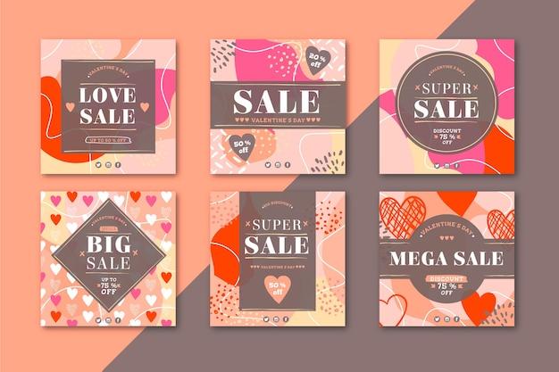 Lovely valentine's day sale instagram posts pack