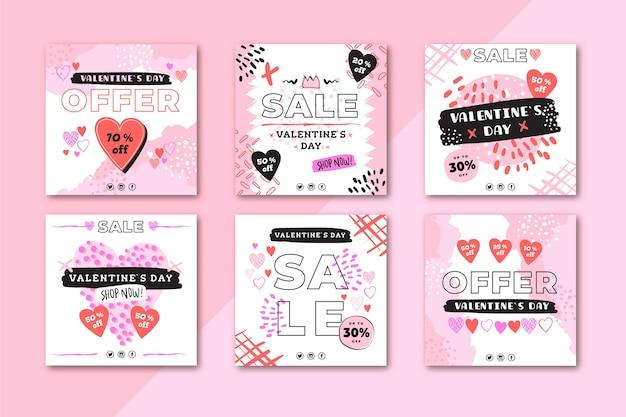 Прекрасный день святого валентина продажи instagram набор сообщений Бесплатные векторы