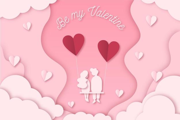 종이 스타일의 사랑스러운 발렌타인 데이 벽지