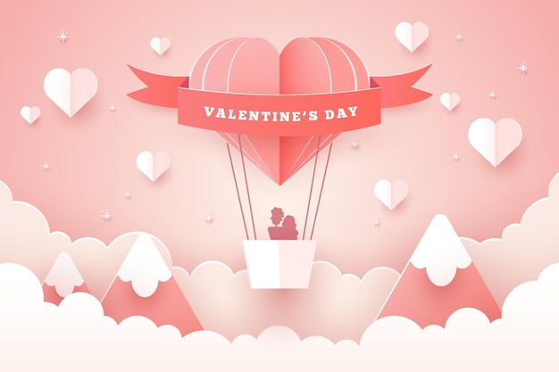 Lovely valentine's day wallpaper in paper style
