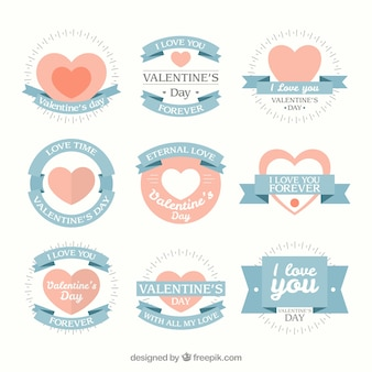 Lovely valentines day badges in soft colors