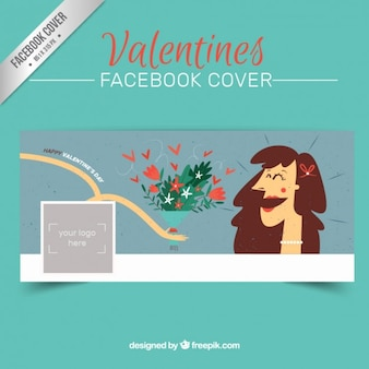 Lovely valentines day facebook cover in sketchy style