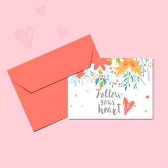 花輪のハートとレタリングが付いた素敵なバレンタインデーのギフトカードは、月にあなたを愛しています。書道、印刷、ポスター、招待状、パーティーの装飾のための手描きのデザイン要素。ベクター。